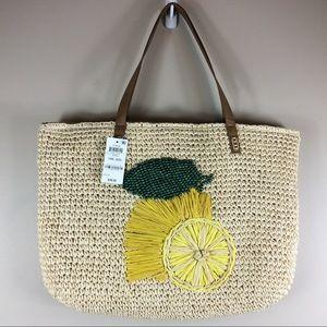 New INC Straw Tote Beach Bag